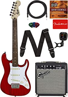 "Fender Squier Short Scale (24"") Stratocaster - Transparent Red Learn-to-Play Bundle with Frontman 10G Amp, Cable, Tuner, S..."