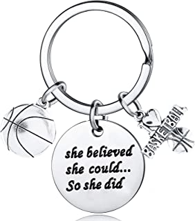 Basketball Gifts For Girls She Believed She Could So She Did Keychain Jewelry Inspirational Gifts
