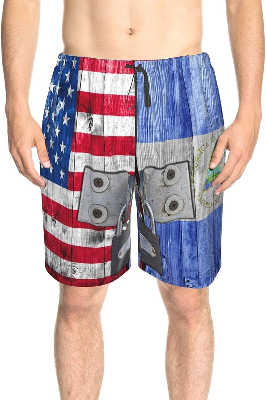 JINJUELS Men's Swim Shorts Us Nicaragua Flag Door with Lock Bathing Suit Boardshorts Fast Dry Fashion Board Shorts Swimwear