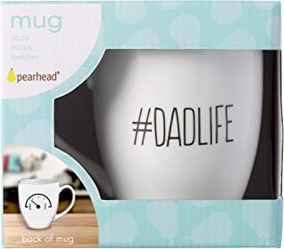 Pearhead '#Dadlife' Ceramic Coffee Mug, Great Gift for Dad, New Dad Gifts, White