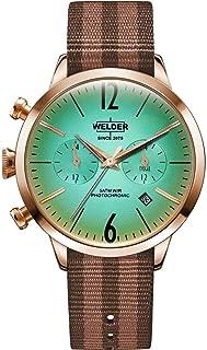 Welder Women's Strapy 38mm Two Tone Nylon Band Steel Case Quartz Green Dial Analog Watch WWRC701
