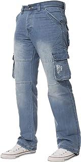 ENZO Mens Designer Cargo Combat Trousers Jeans Denim Heavy Duty Work Casual Pants