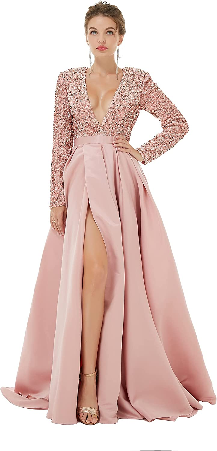 Engerla Sexy V Neck Long Max Limited Special Price 64% OFF Sleeve A-Line Sparkle Prom Party Dress