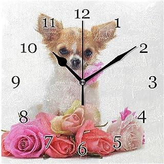 Söt djur hund blomma ros väggklocka tyst icke-tickande fyrkantig konstmålning klocka för hem kontor skoldekor