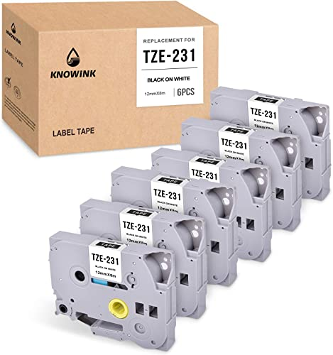 high quality KNOWINK sale Compatible Label Tape Replacement for Brother P-Touch Label Tape White TZe-231 (TZ-231) 12mm 0.47 Inch Laminated Black on White TZe Tape Work with Brother PT-D210 PT-D200 2021 PT-H110 6-Pack outlet online sale