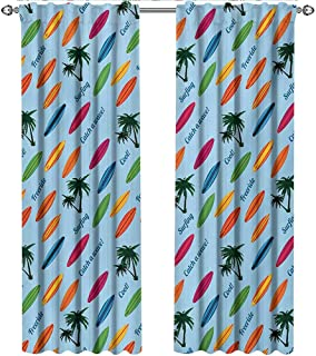 shenglv Surfboard, Kitchen Curtains and Valances Set, Exotic Hawaii Vacation Palm Trees and Colorful Boards Water Sports Fun Activities, Curtains Kids Room, W96 x L108 Inch, Multicolor