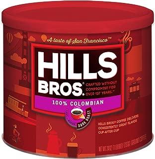 Hills Bros Coffee, 100% Colombian Ground Coffee, Dark Roast, 24 Oz. Can – Roasted 100% Premium Arabica Coffee Beans, Smooth Balanced Flavor