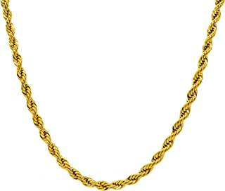 3mm 18K Gold Plated Mens Womens Stainless Steel Hip Hop Twisted Rope Chain Necklace Pendant 18-30 Inches Life Time Replacement Guarantee