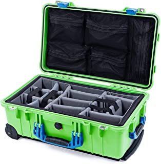 Lime Green & Blue Pelican 1510 case with Grey CVPKG dividers & mesh lid Organizer.