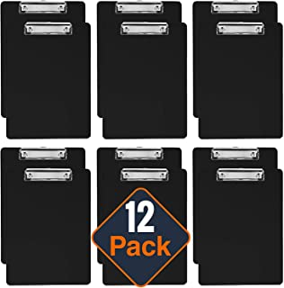 Plastic Clipboards (Set of 12) Multi Pack Clipboard (Black) Strong 12.5 x 9 Inch   Holds 100 Sheets! Acrylic Clipboards with Low Profile Clip   Cute Clip Boards Board Clips
