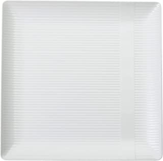 Exquisite Disposable-White-Plastic-Plates-Square Linear (40 Pack) Wedding Dinner Fancy Tableware Dishes (9 Inch, White) Single Size Set
