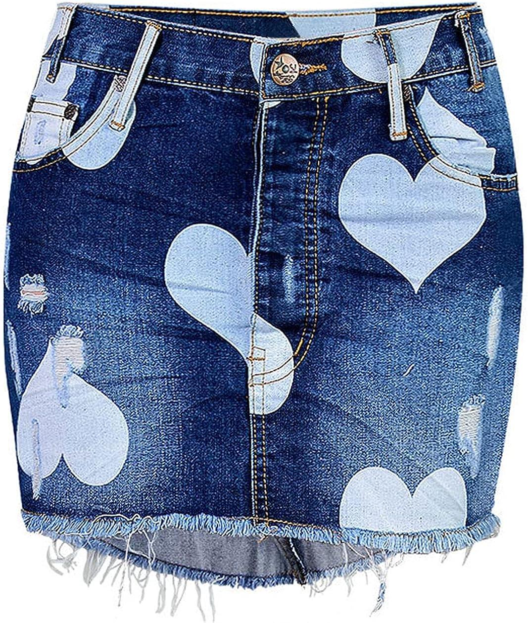 chouyatou Women's Casual Heart Print Mid-Rise Irregular Pleated Street Wear Jean Mini Skirt