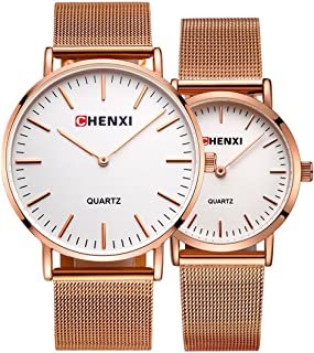 Couple Watch Men Women Stainless Steel Rose Gold Mesh Strap Waterproof Watches