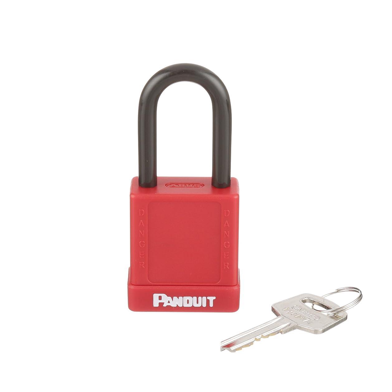 銅つま先マイクロプロセッサパンドウイット ロックアウト用非電導性パドロック(南京錠) 赤 PSL-8