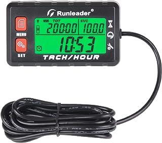 Contador de horas Runleader Tacómetro, Recordatorio de mantenimiento, Horas iniciales configurables, Batería reemplazable, Uso para generador de cortacésped ATV marino y equipos a gas (HM058B-RD)