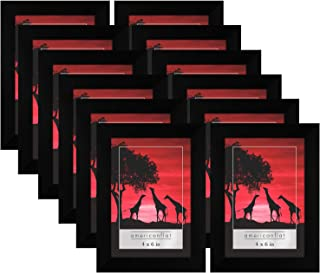 Americanflat 12 Pack - 4x6 Picture Frames - Display Pictures 4x6 Inches - Easel Backs - Built-in Hangers - Plexiglass Fronts