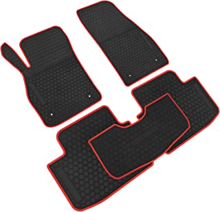iallauto All Weather Floor Liners Custom Fit for Chevrolet Chevy Malibu 2013 2014 2015 2016 Heavy Duty Rubber Car Mats Vehicle Carpet Odorless-Black Red