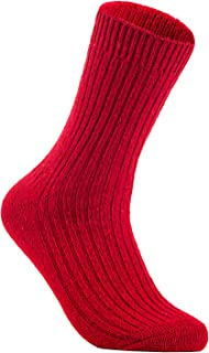 Lian LifeStyle Men's 2 Pairs Knitted Wool Crew Socks One Size 8-11