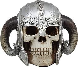 Ebros Ram Horned Viking Chieftain Helmet Skull Statue Nordic Berserker Ragnar The Great Skeleton Cranium Figurine Sculpture As Ossuary Macabre Decor Sculpture