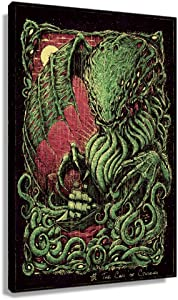 WQINGZ Cthulhu Mythos Cthulhu Poster Prints Wall Art for Kitchen Printing Pictures Horizontal Painting Decor for Bathroom Decorations for Home Modern Artwork Canvas Pics Wall Bedroom Giclee Canvas (20x30inch(50x75cm),Framed)