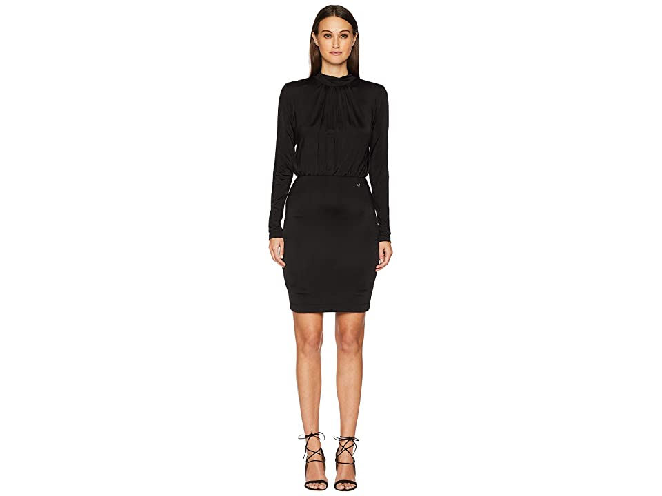 Versace Jeans Couture Long Sleeve Cinched Waist Dress (Nero) Women