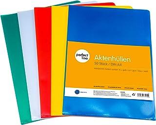 perfect line 50 pochettes coin colorées, format A4, 5 couleur, ouverture en coin, pochette à rabat plastique, pochette cla...