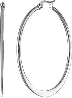 Amazon Essentials Gold or Rhodium Plated Stainless Steel Flattened Hoop Earrings
