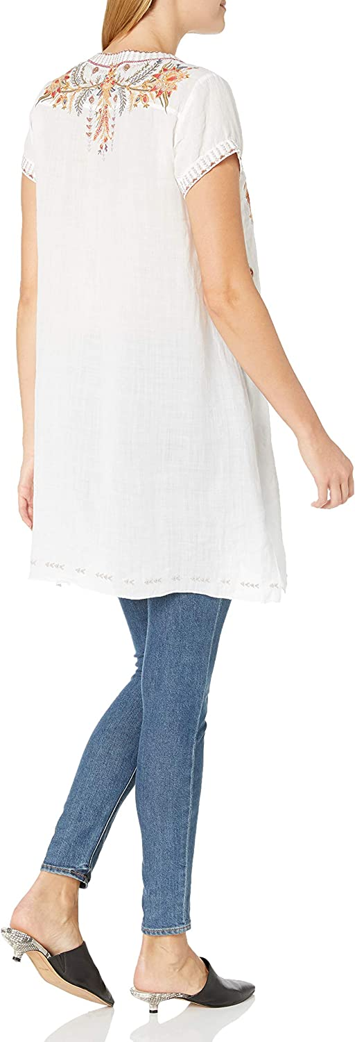 3J Workshop Women's Hevea Notched Neck Drape Tunic Shirt White