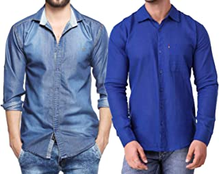 Finerbeast Cavender Combo Denim with Royal Blue Cotton Casual Shirt