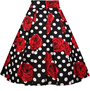 dc4bb0f39f Dresstore Vintage Pleated Skirt Floral A-line Printed Midi Skirts with  Pockets