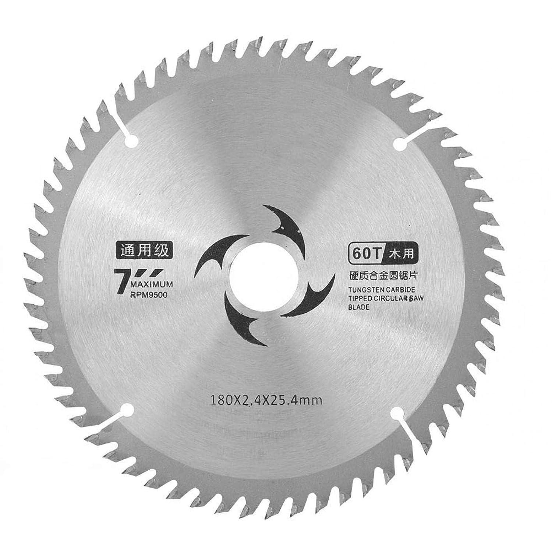 Hoja de sierra circular de carburo de 180 x 2,4 x 25,4 mm Disco de corte redondo Hoja de sierra de madera dura y blanda con arandela para cortar madera(60T)