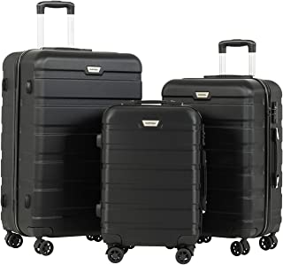 3 Pieces ABS Luggage Sets TSA Lightweight Durable Spinner Suitcase Aluminum Retractable Handle 20