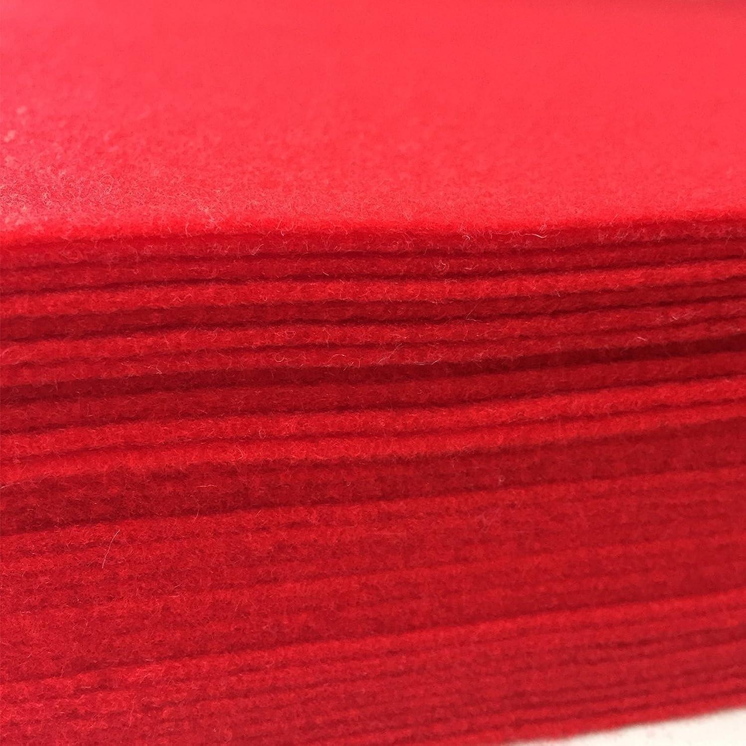 Misscrafts 30pcs 12 X 12 Inches 1.4mm Red Christmas Felt Squares Soft Christmas Felt Sheets Christmas Felt Arts and Crafts Felt Fat Quarters DIY Sewing Nonwoven Patchwork Wool Blended Felt