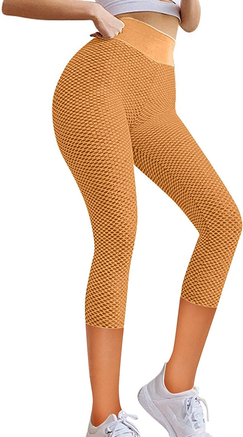Wocachi Women's Yoga Pants 3/4 Capri Compression Running Tights Workout Stretch Athletic Leggings for Women