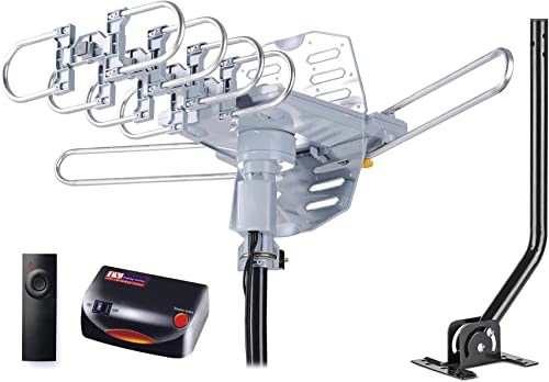 pingbingding PBD WA-2608 Digital Amplified Outdoor HD TV Antenna with Mounting Pole & 40 ft RG6 Coax Cable 150 Miles Range Wireless Remote Rotation product image