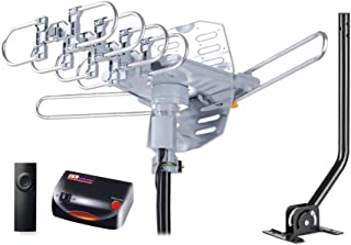 PBD WA-2608 Digital Amplified Outdoor HD TV Antenna with Mounting Pole & 40 ft RG6 Coax Cable 150 Miles Range Wireless Rem...