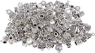 B Baosity 120pcs Perle di caucciù Argento Tibetane Pendenti per Creazione Collane