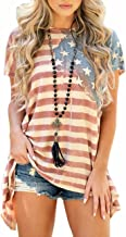 Sexyshine Women's American Flag Striped Short Sleeve Loose Blouse T-Shirt Tunic Tees Tops