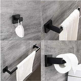 Atfipan Matte Black Stainless Steel Wall Towel Hook Bathroom Hanger Holder Wall Robe Rails Rack Bar