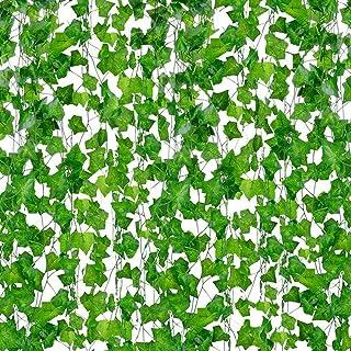 نباتات صناعية، نباتات اللبلاب الاصطناعي الديكور الداخلي والخارجي 25.56 سم - 12 إكليل من اللبلاب الاصطناعي نافذة السلم لتزي...