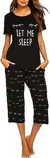 Women's Cute Printed Pajama Set Sleepwear Tops with Capri Pants