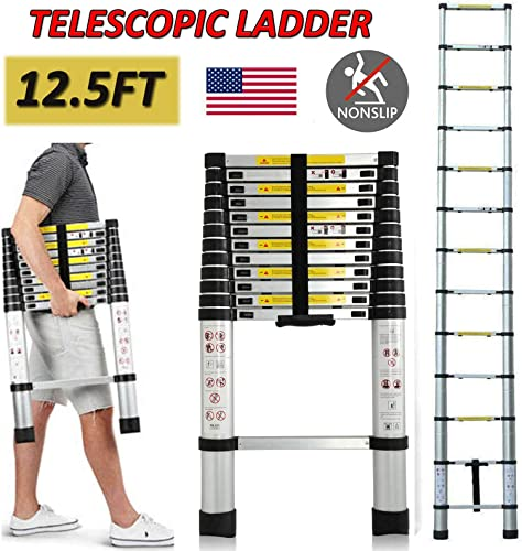lowest 12.5ft Telescoping Extension Ladder EN131 Certified Aluminum Telescopic Multi-purpose Ladders with Non-Slip outlet online sale Ribbing 12 Steps 330lbs Max Capacity Lightweight Portable high quality Heavy Duty Ladder online