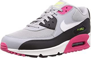 Nike Men's Air Max 90 Wolf Grey/White/Rush Pink/Volt Leather Casual Shoes 8 M US