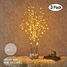 Hairui Prelit Artificial Golden Twig Branch with Fairy Lights 32in 150 LED Plug in Lighted Willow Branch for Christmas Home Decoration Indoor Outdoor Use 3 Pack (Vase Excluded)