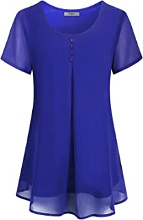 Cestyle Women's Summer Layered Crew Neck Pleated Soft Chiffon Blouse Tops