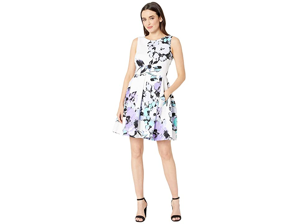 Taylor Sleeveless Floral Print Fit and Flare Dress (Ivory/Lilac) Women