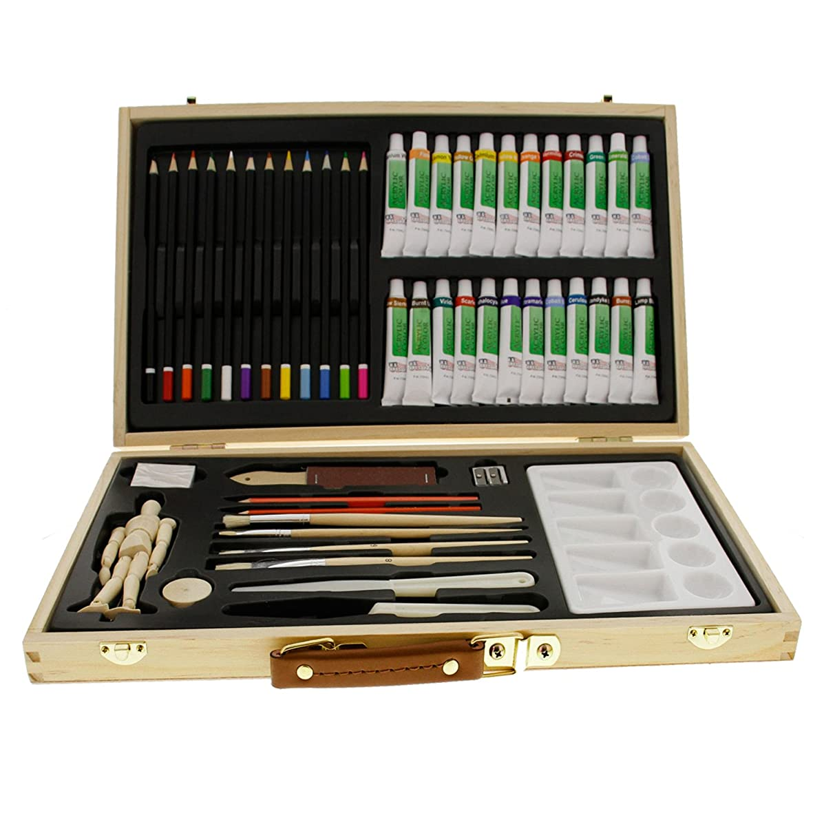 US Art Supply? 50-Piece Acrylic Painting Set with, Wood Storage Case, 24-Tubes Acrylic Colors, 12 Colored Pencils, 2 Graphite Pencils, 4 Artist Brushes, 5.5