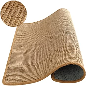 M&MKPET Natural Sisal Cat Scratcher Mat Horizontal Cat Floor Scratching Pad Rug Scratch Pad for Cat Grinding Claws & Protecting Furniture