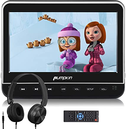 $125 Get PUMPKIN 10.1 Inch Car Headrest DVD Player with Headphone, Support HDMI Input, 1080P Video, AV in Out, Region Free, USB SD, Last Memory