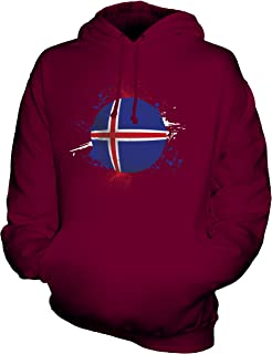 CandyMix Unisex Iceland Football Splatter Mens/Womens Hoodie, Size Small, Color Burgundy